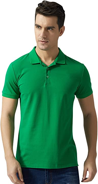 LEGEND PAUL Men's Polo Shirts Fashion Solid Color Polo T Shirts (XL, Green)