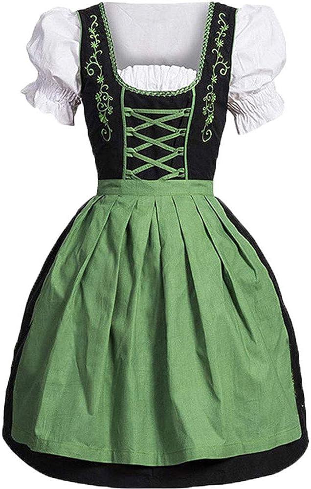 Funo Bavarese Dirndl Set 2 Pezzi Marrone con Ricamo Costume Tipico Tirolese per Oktoberfest Carnevale Donna