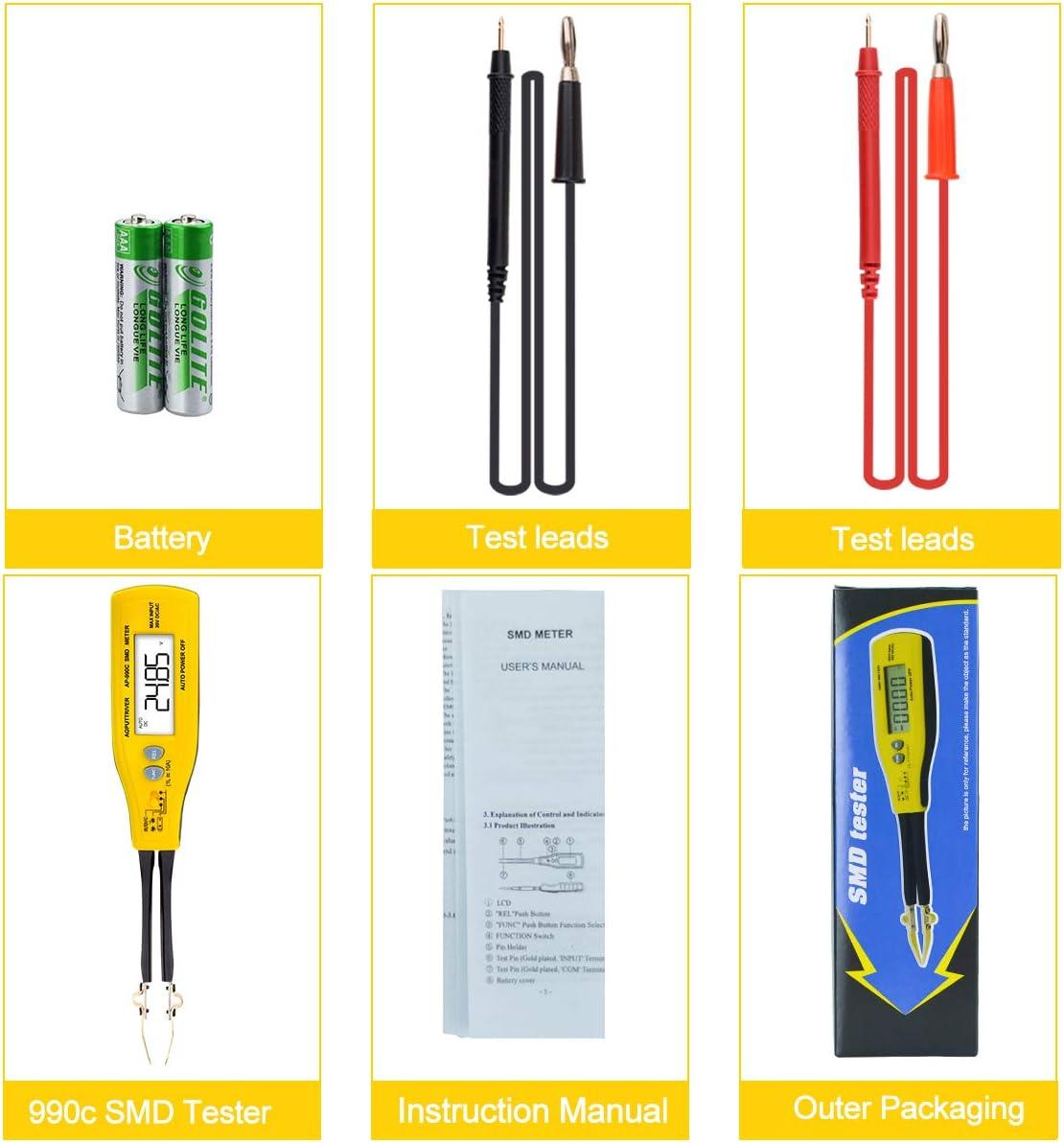 Digital SMD Messger/ät AP-990C Smart Smd Tester Handdioden-Widerstandsmessger/ät Smart Pinzette Digital-Multimeter Widerstand Kapazit/ät 2 Pin mit Diodenpr/üfung+Auto Aus+Durchgangssummer+Batterietest