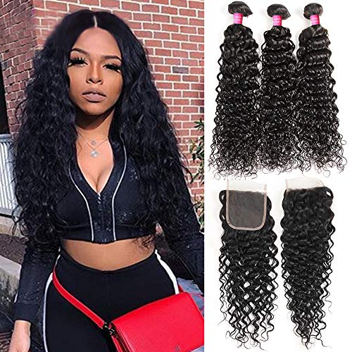 Water Wave Unprocessed Bundles With Closure Wet and Wavy Human Hair Weave 3 Bundles With Closure Laritaiya (18 20 22+16 closure, free part) (Best Hair Products For Wet And Wavy Weave)