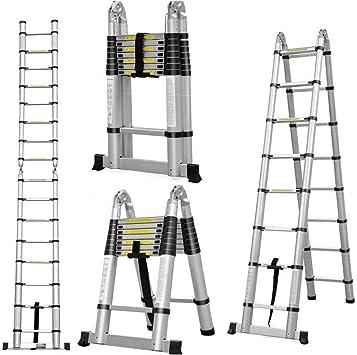 Escalera telescópica telescópica de aluminio de 5 m, escalera plegable con marco en A, capacidad de 330 libras con mecanismo de bloqueo de carga de resorte, antideslizante.: Amazon.es: Bricolaje y herramientas