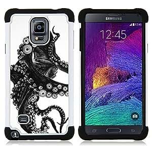 - octopus black white photo tentacle monster - - Doble capa caja de la armadura Defender FOR Samsung Galaxy Note 4 SM-N910 N910 RetroCandy