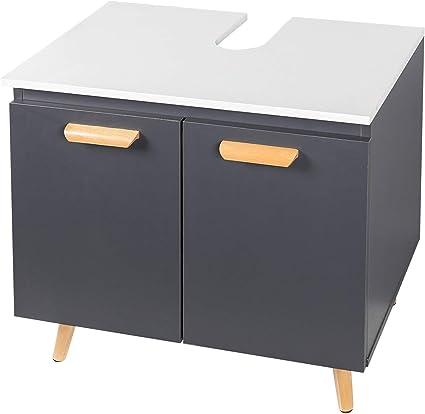 eSituro Mueble Bajo Lavabo Armario de Suelo para Baño Mueble de Baño Organizador Estante de Baño Gabinete de Almacenamiento, MDF Gris/Blanco SBP0060
