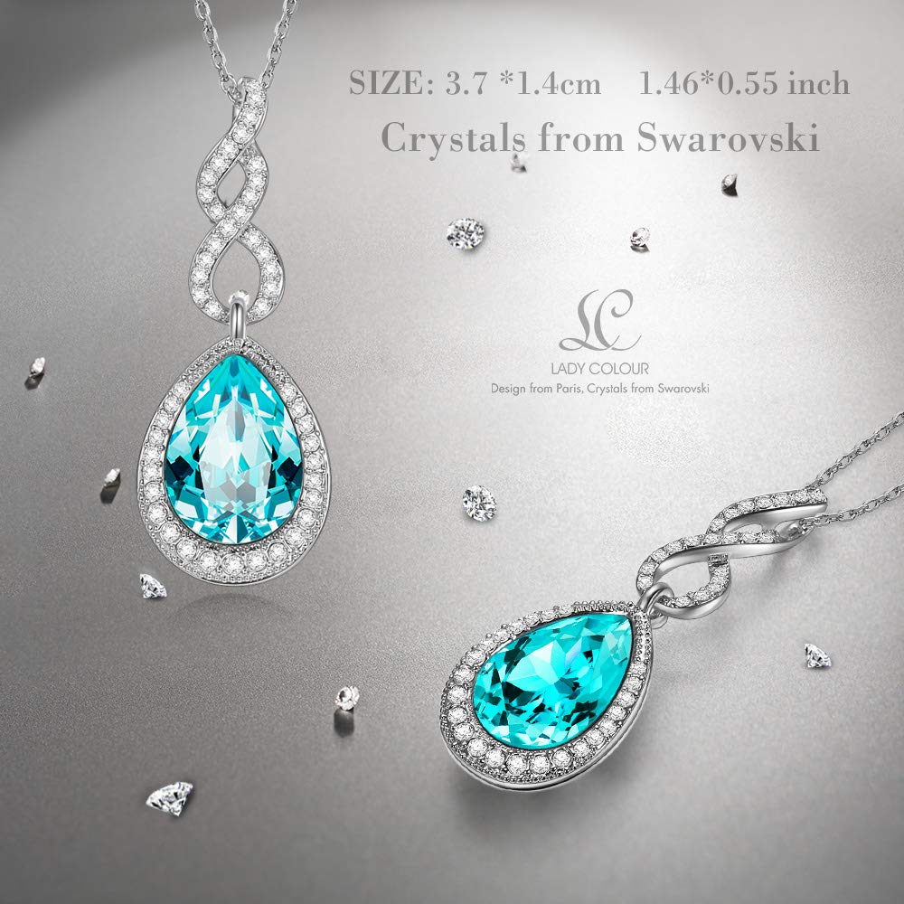 LADY COLOUR Necklace Intoxicating Love Ice Blue Teardrop Pendant Necklace Made with Swarovski Crystals Hypoallergenic Jewelry Gift Box Packing, Nickel Free Passed SGS Test Anniversary Birthday Gifts