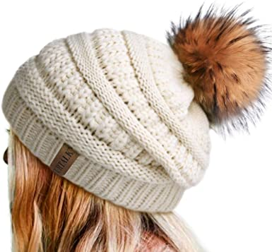 Ladies//Womens Girls Winter Hat Cap Knit Beanie Ski Cap with Soft Faux Fur Large