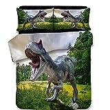 Sport Do 3D Digital Photo Print Dinosaur World Duvet Cover, With 2 Pillowcases Hidden Zipper Design, Twin Size