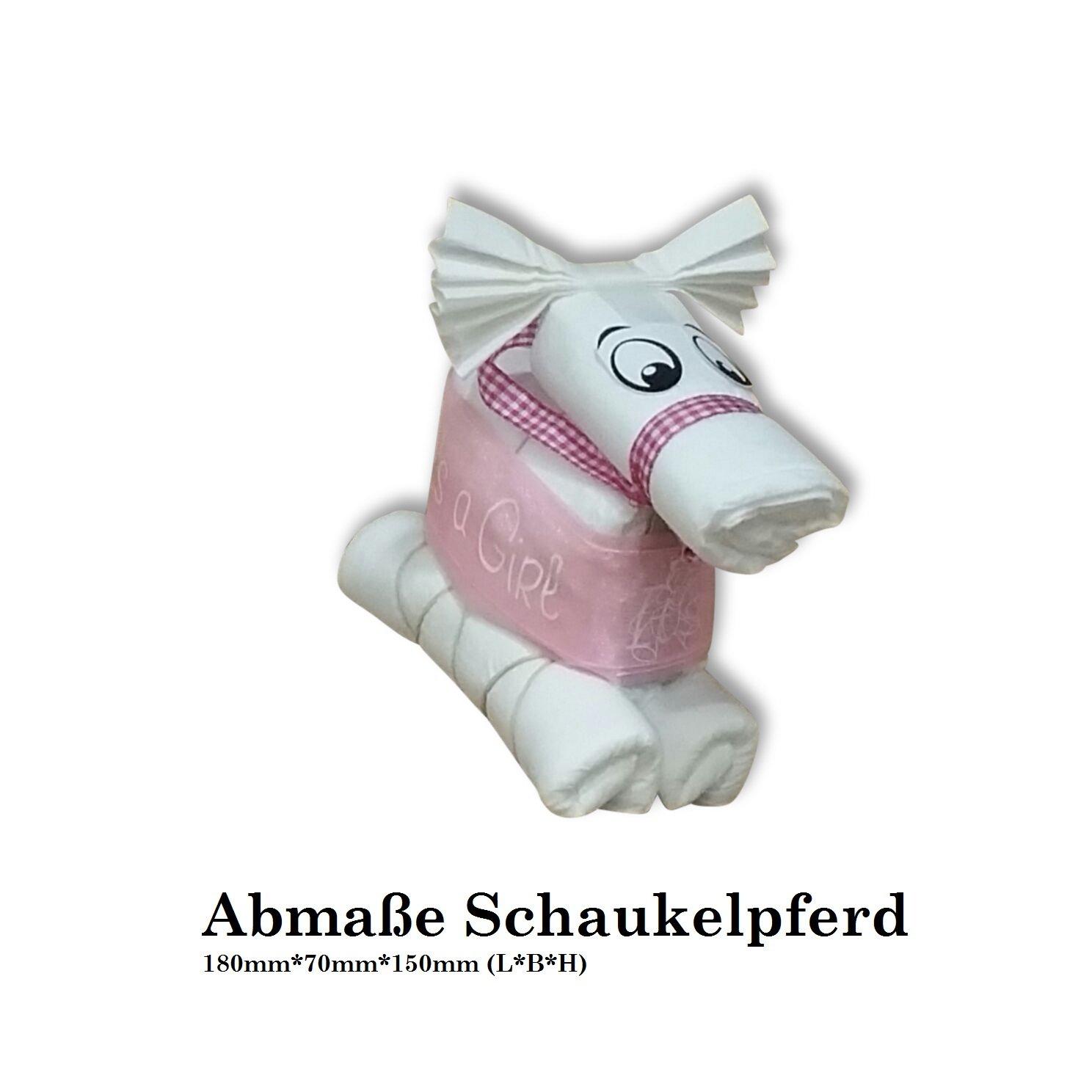 Hilkeys Windeltorte Geschenk Geburt Schaukelpferd rosa XL mit Karte in Folie