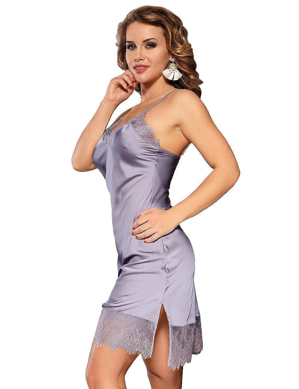 ohyeahgirl Damen Unterw/äsche Kleid Sommer Morgenmantel Kimono Satin Kurz Robe Bademantel Nachtw/äsche Sleepwear gro/ße gr/ö/ßen M-5XL
