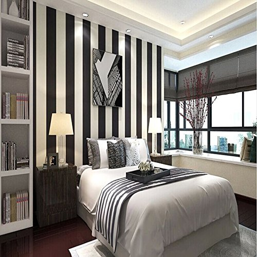 QIHANG Modern Minimalist Vertical Striped Pvc Wallpaper Black&white Color 0.53m10m=5.3m2 (Square Black And Wallpaper White)