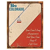 Cheap Framed, Outdoor Ski Colorado 12″x16″ Metal Sign, Ski Lift, Vintage, Retro, Hand-Crafted from reclaimed materials