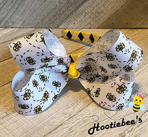 - Dizzy Bees Boutique Hair Bow on Woven Headband