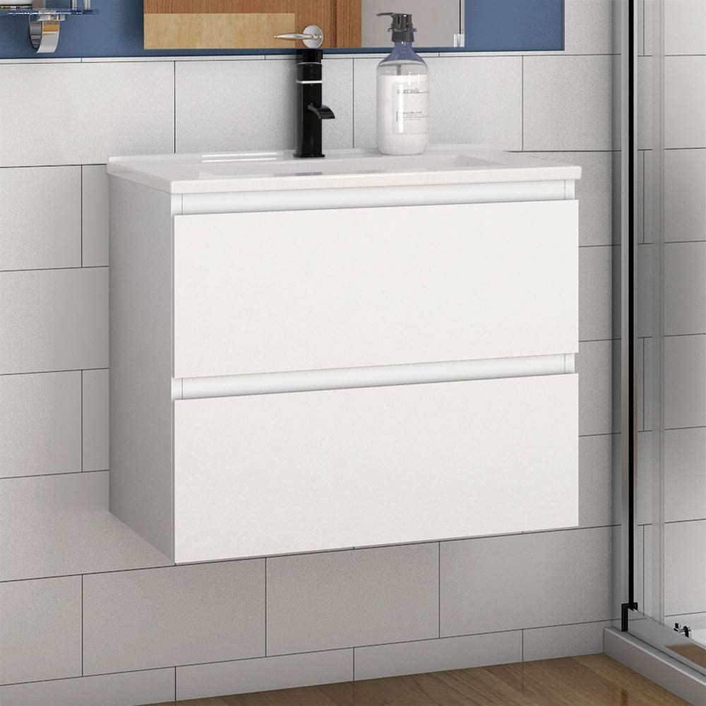 Xinyang 500mm White Free Standing Bathroom Vanity Unit with Ceramic Basin and Doors