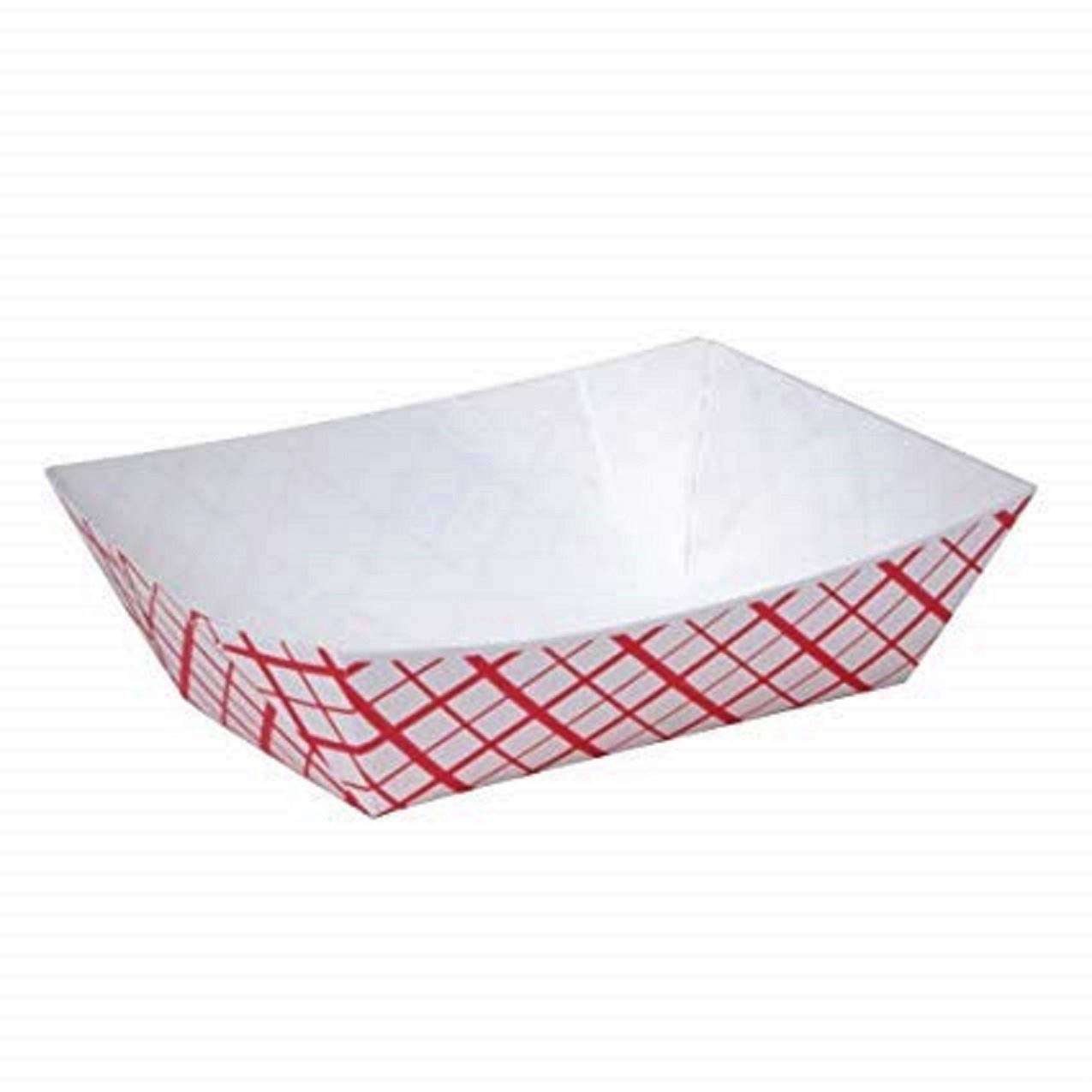 Red Check 1/4 Lb (#25) Disposable Paper Trays – Mini Food Serving Checkered Tray Boat Bowl for Carnivals, Fairs, Festivals and Picnics - Made in USA (Pack of 200)