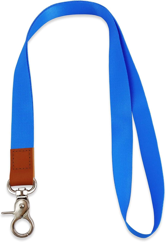 Cordino da Collo Portachiavi con Ring Metallica e Vera Pelle Mobile Cellulari Laccio da Collo Cordino USB Blau Chiavi HONZUEN Cordino da Collo di Alta Qualit/à per Porta Badge