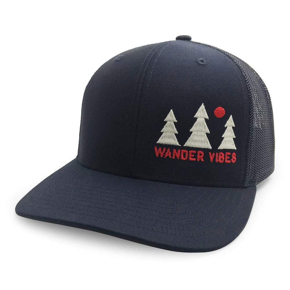 857b322be76 WUE Wander Vibes Outdoors Trucker Hat   2 Excluvise Stickers Navy at Amazon  Men s Clothing store