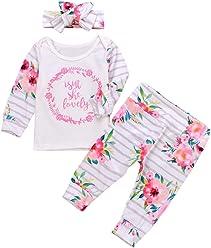 716c8fffc1d9 SMTSMT 3Pcs Set Newborn Toddler Baby Girls Outfits Set Lettrer Flower Tops  Pants Clothes