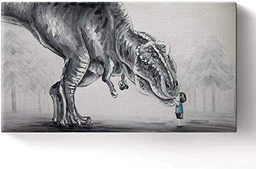Libaoge Hand Painted Lovely Baby Boy Touching Trex Dinosaur in The Forest Oil Painting on Canvas with Wood Frame, Modern Home Wall Decoration Artwork Ready to Hang 12×24 inch