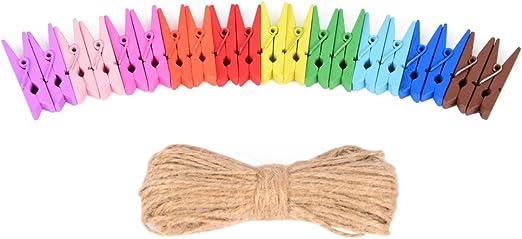 100 pinzas de ropa mini y mucho m/ás scrapbooking con 20/m cuerda de yute de East-West Trading; de 10/colores diferentes pinzas de madera con fines decorativos para manualidades