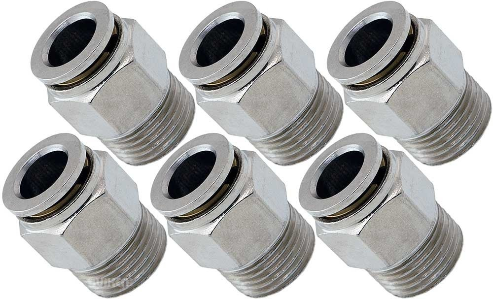 Vixen Air 3/8'' NPT Male Push to Connect (PTC) Straight Pneumatic Fitting for 3/8'' OD Hose Bundle of six Fittings VXA7383-6