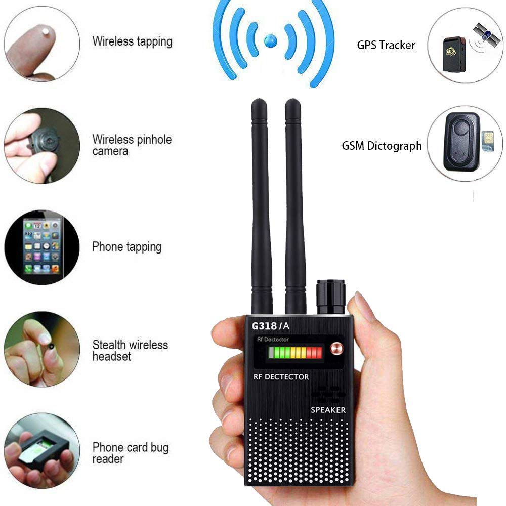 Wireless Bug Detector,Dual Antenna High Sensitive Sweeper Detect Wide Range Radio Frequency Find Out Hidden Camera GPS Tracker(2019 Upgrade Version) (Black)