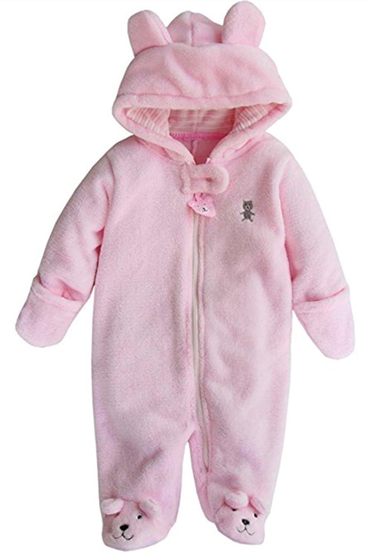 Newborn Baby Boys Girls 3D Cartoon Bear Hooded Romper Warm Fleece Jumpsuit Outfits Z965
