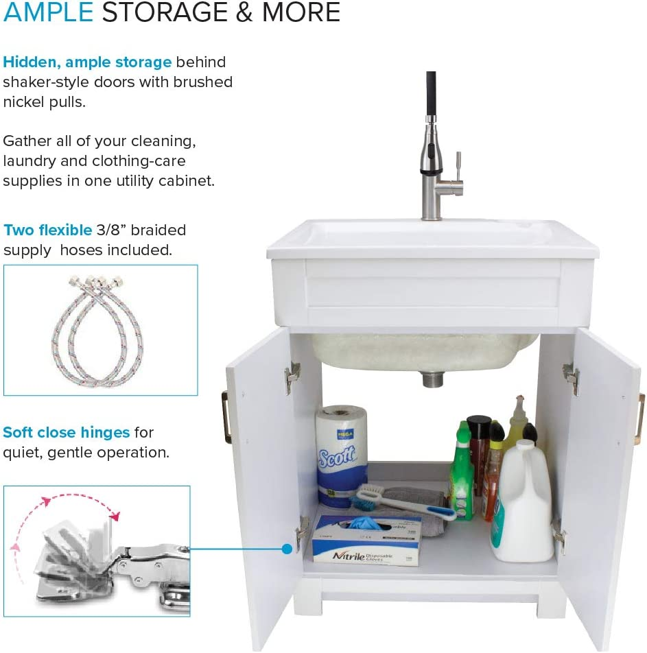 Stainless Steel High Arc Faucet White Transolid TCAS-2522-WC 25-in Laundry Cabinet with Acrylic Sink