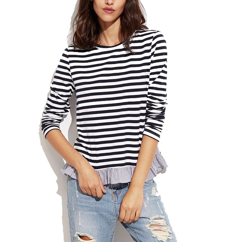 Verochic Women's Striped Long Sleeve Cotton Round Neck Splice Ruffle Shirt Top (Black, S)