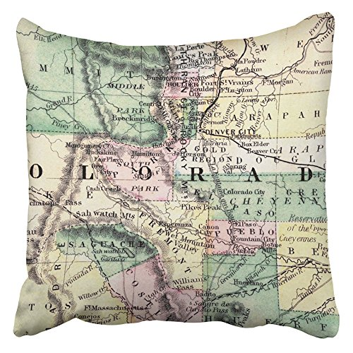 (Emvency Throw Pillow Covers Cases Decorative 18x18 Inch Denver Antique 1870 Mitchell Colorado Map Bolder Pikes Peak Pueblo Rocky Mountains United Two Sides Print Pillowcase Case Cushion Cover)