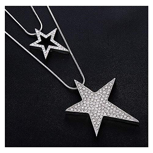 YRY Silver Star Long Necklace for Women Girl Openwork Diamond Five-Pointed Star Multilayer