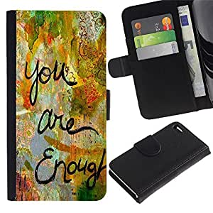 Leather Case Wallet Flip Card Pouch Soft Holder for Apple Iphone 4 / 4S / CECELL Phone case / / Are Enough Love Quote Paint Funny /