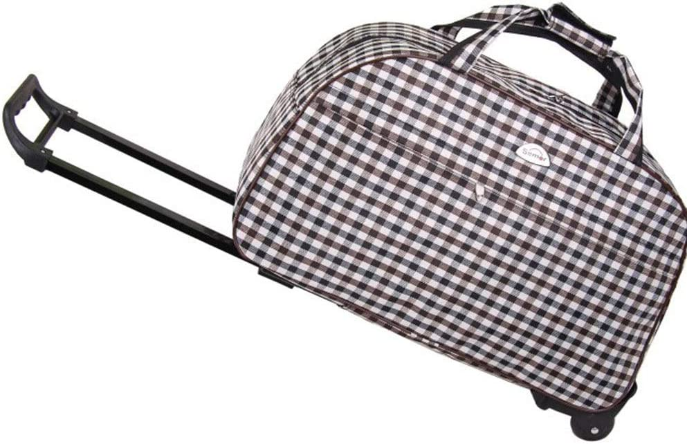 Large-Capacity Hand Bag Travel Bags Trolley Case Carry On Hand Luggage Super Lightweight Durable Hold Luggage Suitcases Tingting Color : Brown White Plaid, Size : 522332cm