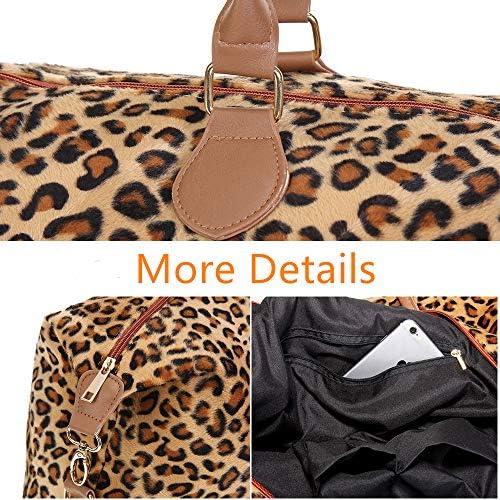 Leopard Weekender Bag Travel Duffle Bag For Women Large Cheetah Tote Shoulder Bag With Shoulder Strap