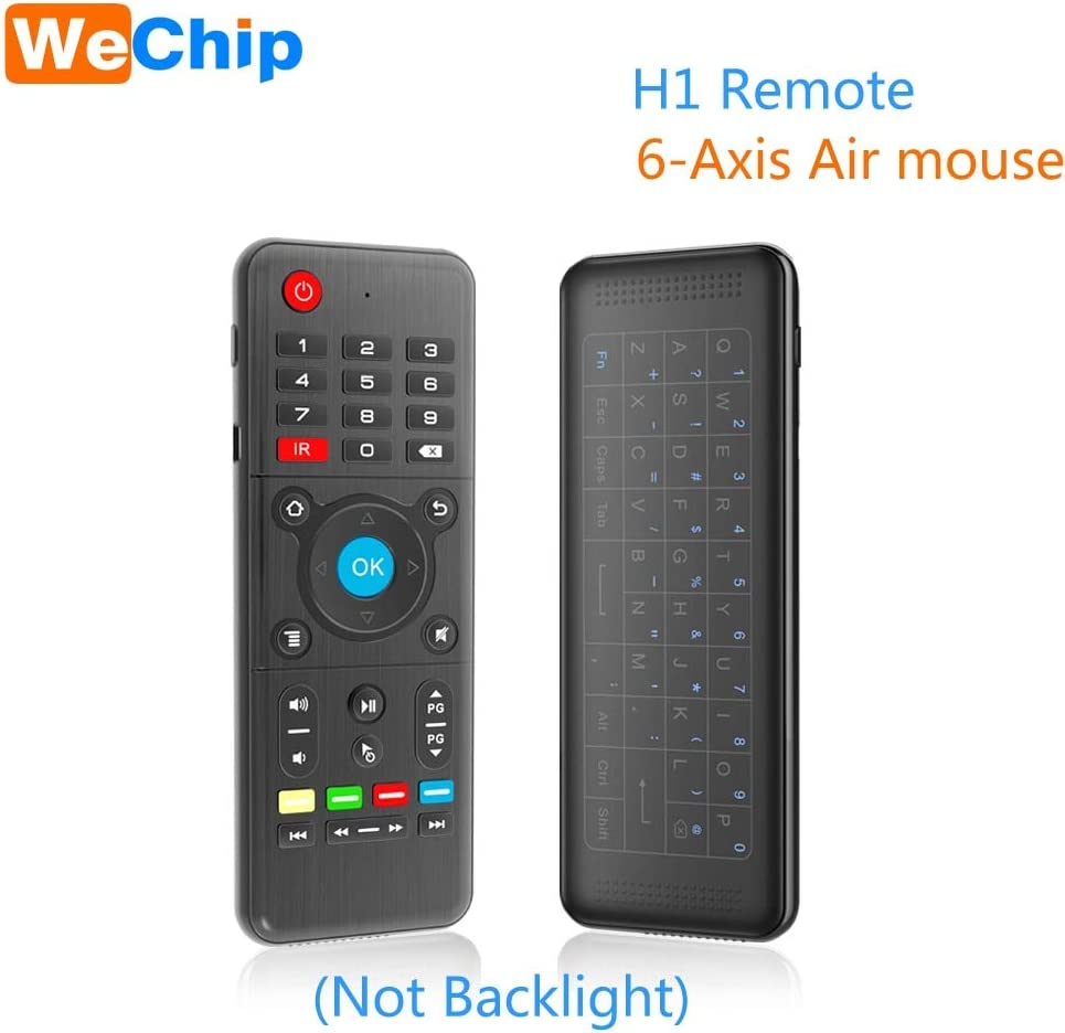 Calvas Mini Remote 6-Axis Air mouse Full Touchpad keyboard IR learning Function Fly mouse 2.4G Wireless Recharge Backlight Controller Color: No Backlight H1