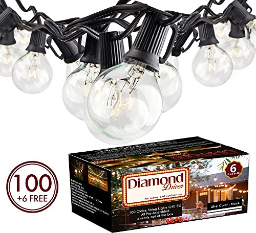100Ft G40 Globe String Lights with Clear Bulbs UL Listed for Indoor/Outdoor Commercial Use, Retro Outdoor String Lights for Patio Backyard Cafe Bistro Garden Porch Umbrella Tents Decks 61RWS0SgSeL