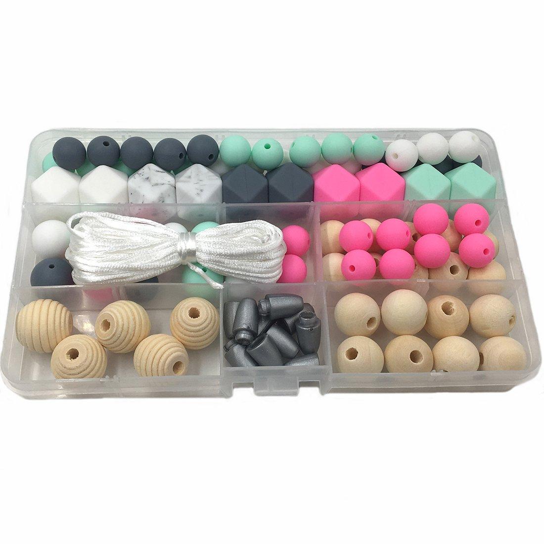 Coskiss conjuntos de mordedor de silicona diy collar de dentici/ón perlas pulsera hecha accesorios de calidad alimentaria de silicona perlas beb/é mordedor A187