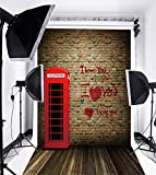 Laeacco Love Theme 5x7ft Vinyl Photography Background Wood Floor with Red Telephonebooth and Brick Wall Scene 1.5*2.2m Backdrop Photo Studio Props
