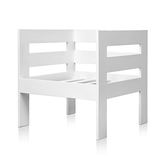SUENOSZZZ - Sofa Jardin de Madera de Pino Color Blanco, MEDITERRANEO Mod. sillón. Muebles Jardin Exterior. Silla para Patio y terraza. Sillon sin ...