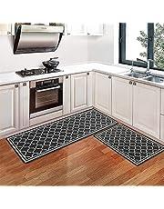 Pauwer Anti Fatigue Kitchen Rug Set 2 Piece Non Slip Cushioned Kitchen Floor Mat Waterproof Comfort Standing Kitchen Mat