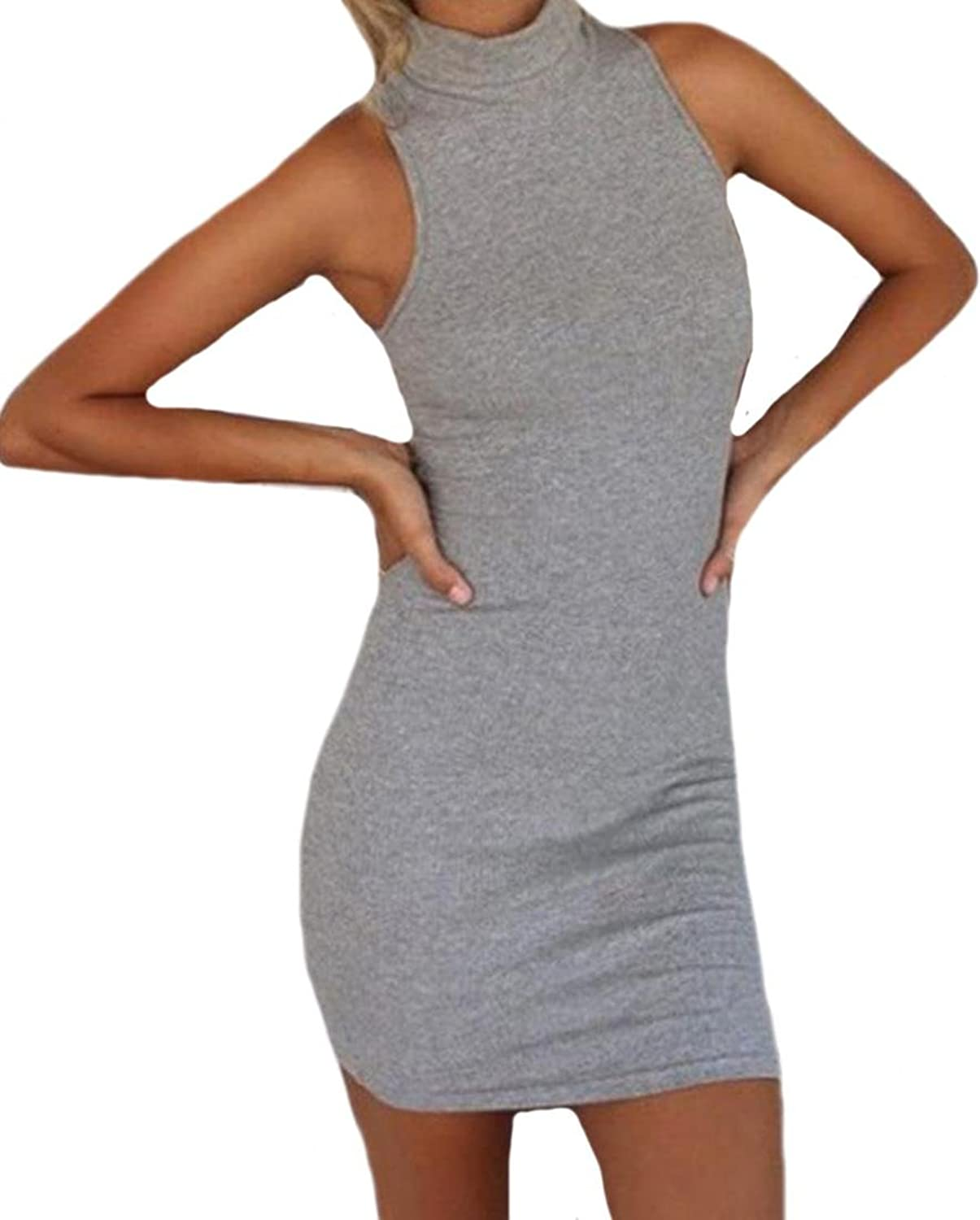 Oberora Women Sleeveless Package Hip Pencil Cocktail Party Dress