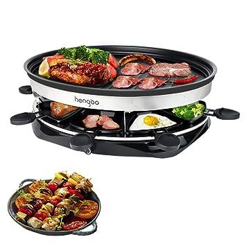 Raclette y Parrilla con 8 Mini-Sartenes para 8 Personas con Forma Redonda, 1500W