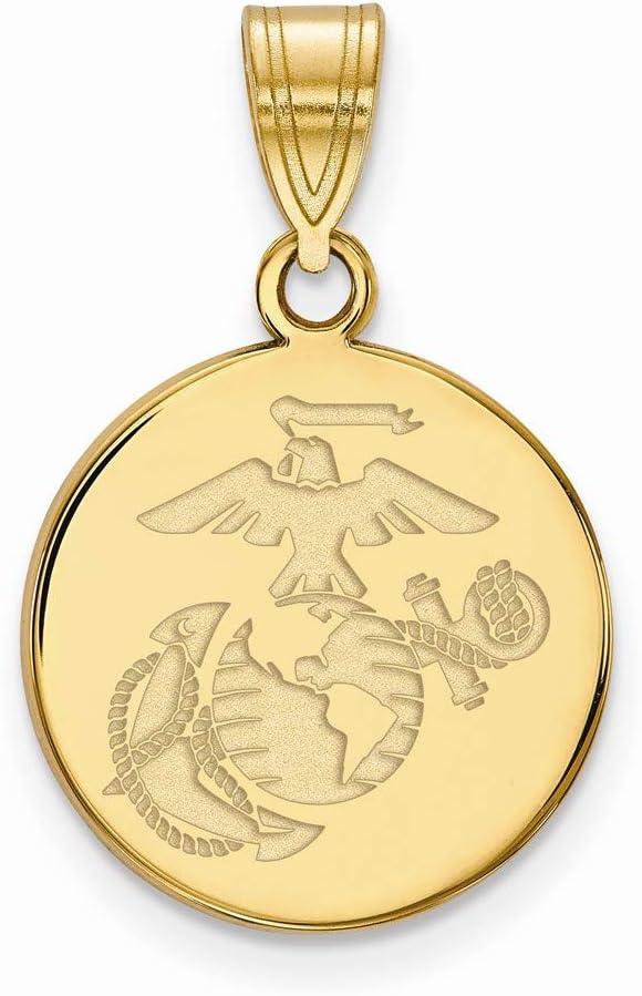 Marine Corps Disc Pendant Gold Plated SS Medium U.S