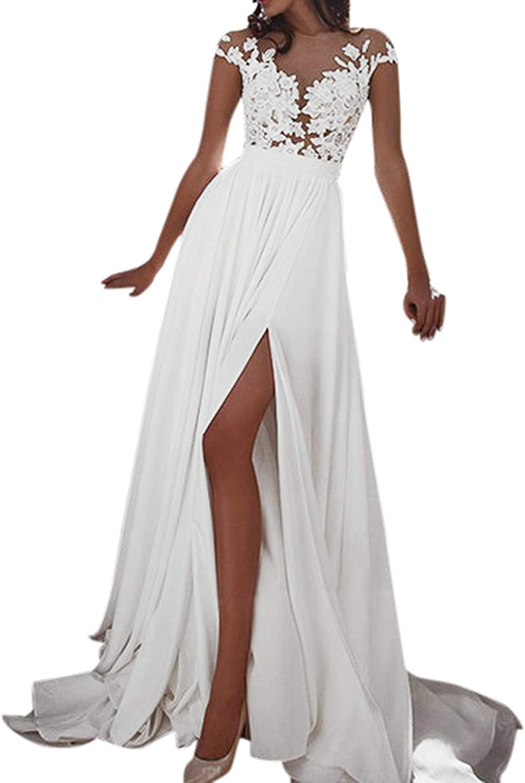 AmyGline Kleider Damen Hochzeitskleid Sexy Spitze Chiffon Kleid