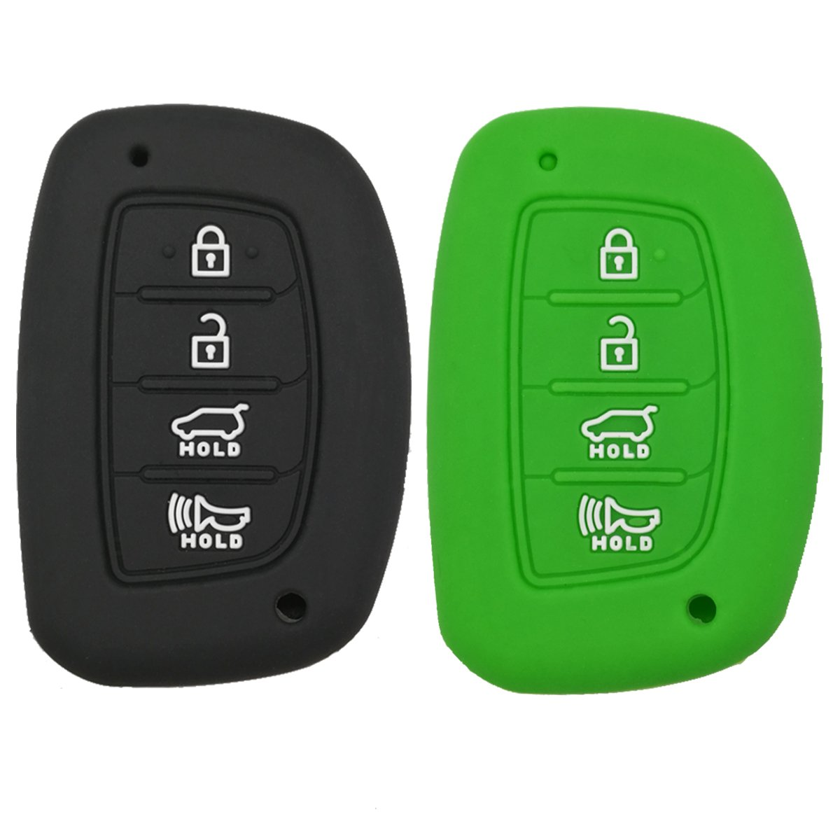 Coolbestda 2Pcs Silicone Key Fob Remote Case Protector Jacket for 2018 2017 2016 Hyundai Tucson Elantra Sonata 4Buttons Smart (NOT FIT Flip/Pop Out/Folding key) by Coolbestda