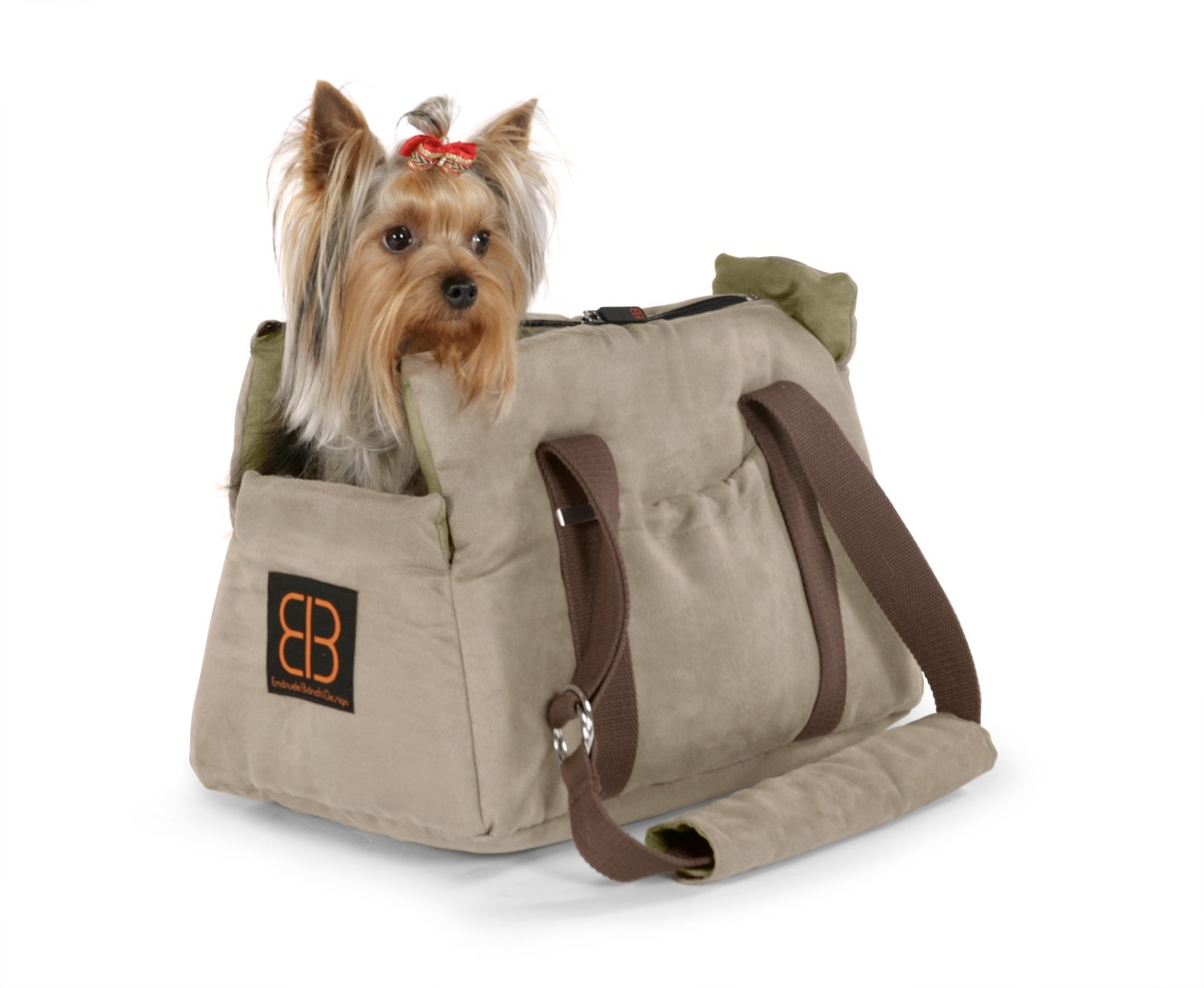 Petego Velvet Bitty Bag Pet Carrier, Stone/Sage