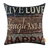 LINKWELL 18''x18'' Vintage Wood Slat Live Love Laugh and to be Happy Burlap Throw Pillow Case Cushion Cover (CC1229)