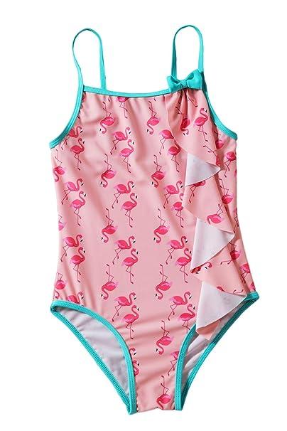 801c29e61b642b Amazon.com: Toddler Kids Little Girls Flamingo Print One-Piece Swimwear  Rash Guard: Clothing
