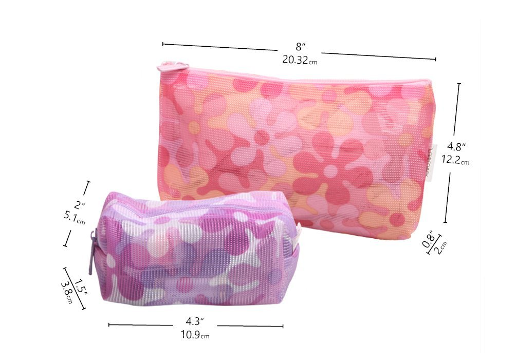 Colorful Cosmetic Bags Lightweight Travel Toiletry Pouch Roomy Makeup bag  Daily bag Organizer 2 –Pack