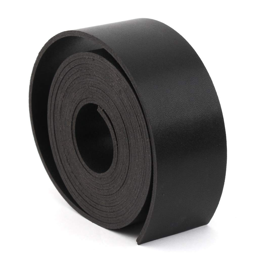 Black, Length: 72 Double Sided Faux Leather Strap 1.5 Inch Wide 1//10 Inch Thick