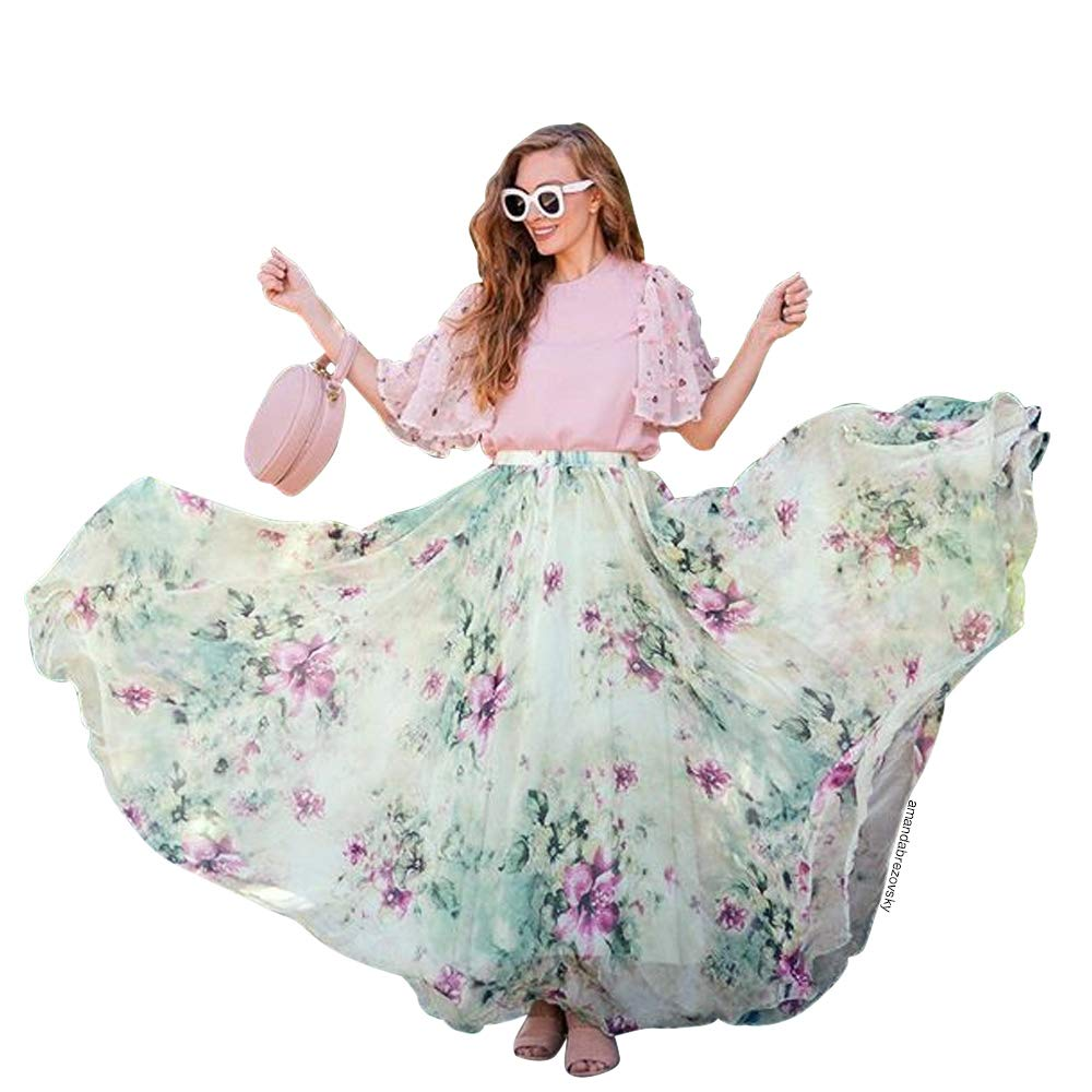 Chicwish Womens Watercolor Yellow//Violet//Green//Pink//Blue//Orange//Navy Flower Maxi Floral Chiffon Slip Skirt