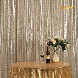 LQIAO Nice 8x10ft Light Gold Sequin Backdrop Sequin Background Baby Shower/Dance Team Photography Background for Birthday Party Background, Pocket 8x10FT(240x310cm))